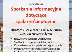 PILNE. W ten piątek spotkanie w MCK w Żywcu w sprawie kontynuacji działań dotyczących budowy  spalarni/ciepłowni